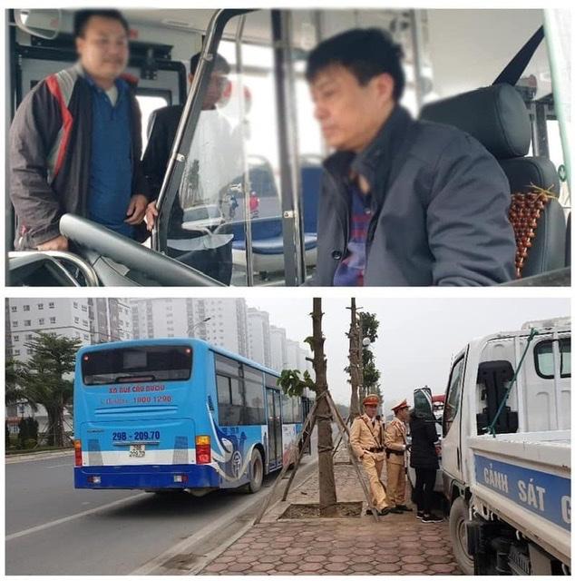 CSGT kiểm tra nồng độ cồn với lái xe bus Cầu Bươu