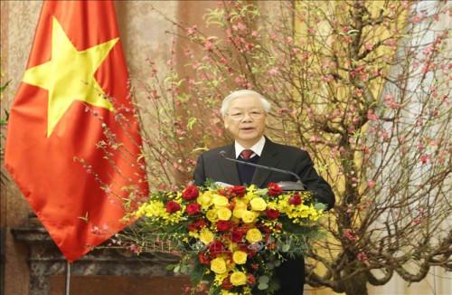 Tổng Bí thư, Chủ tịch Nước Nguyễn Phú Trọng chúc Tết cán bộ, nhân dân trong và ngoài nước
