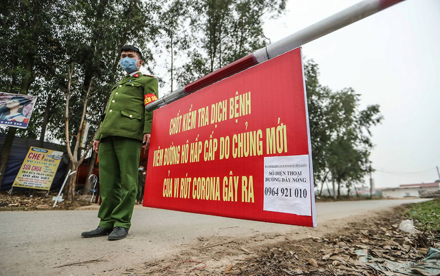 Chốt kiểm soát tại xã Sơn Lôi, huyện Bình Xuyên, tỉnh Vĩnh Phúc