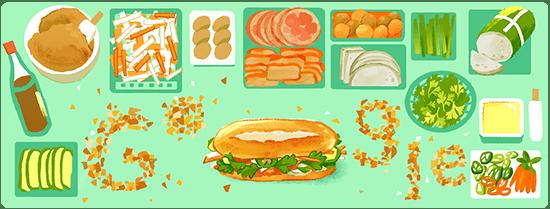 Google Doodle Bánh mì trình bày các nguyên liệu phổ biến kèm theo như chả lụa, thịt heo, patê, bơ và đồ chua cùng tạo nên một ổ bánh mì Việt Nam đặc trưng - Ảnh: GOOGLE