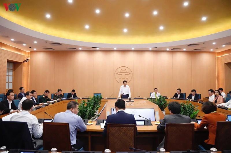 Chủ tịch UBND TP Hà Nội Nguyễn Đức Chung phát biểu tại một phiên họp của Ban Chỉ đạo phòng chống dịch Covid-19 thành phố Hà Nội.