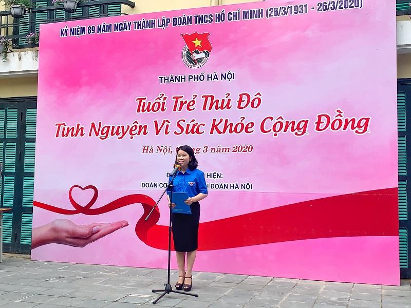 Đồng chí Chu Hồng Minh, Phó Bí thư Thường trực thành đoàn Hà Nội- Chủ tịch Hội sinh viên TP khai mạc chương trình