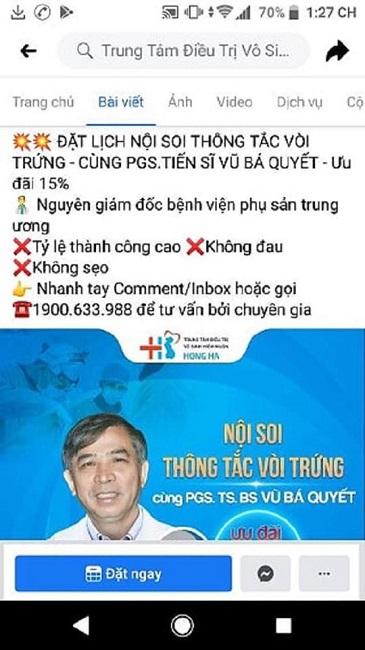 Hình ảnh quảng cáo trên trang website của Bệnh viện Đa khoa Tư nhân Hồng Hà
