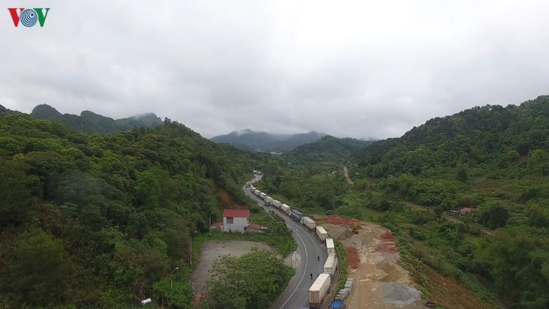 Xe nông sản ùn tắc kéo dài trên quốc lộ 1A dài hơn 10km.