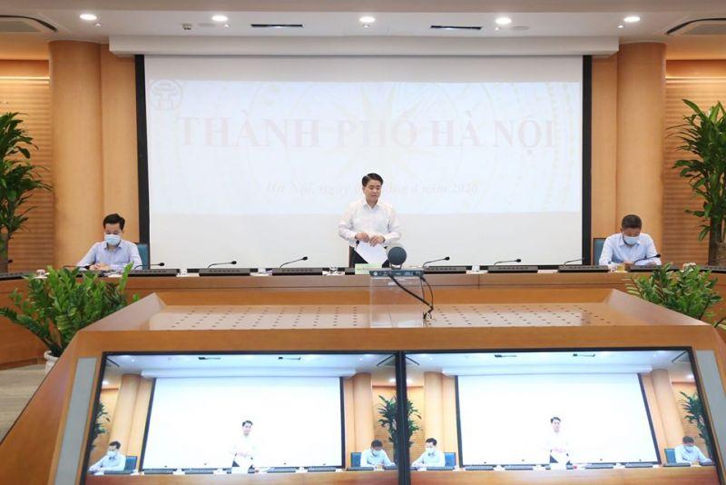 Chủ tịch UBND TP Nguyễn Đức Chung phát biểu tại điểm cầu Hà Nội