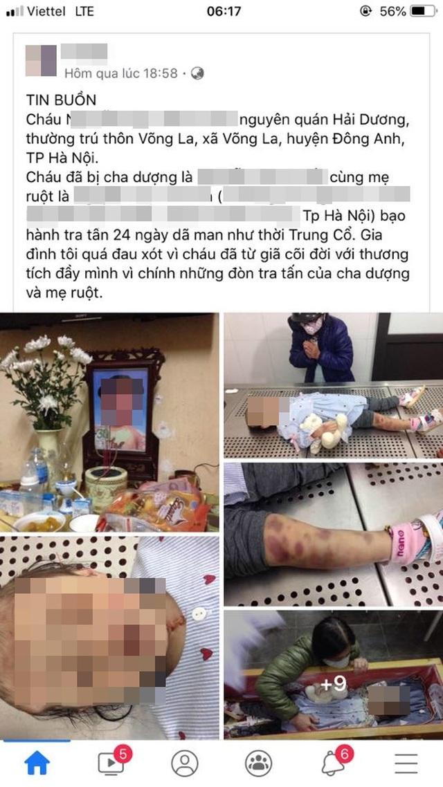 Nội dung thông tin và hình ảnh bé gái tử vong được đăng tải trên mạng xã hội