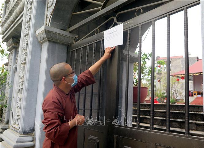 Chùa An Vinh (thành phố Tuyên Quang, tỉnh Tuyên Quang) thông báo đóng cửa chùa. Ảnh Quang Đán/TTXVN