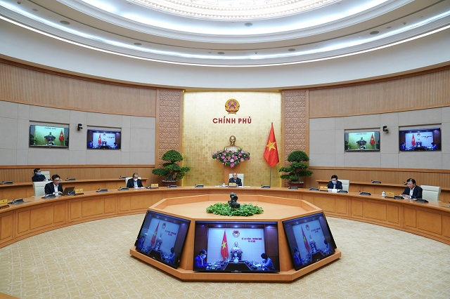 Thủ tướng điều hành phiên họp Chính phủ về phòng chống dịch bệnh Covid-19.