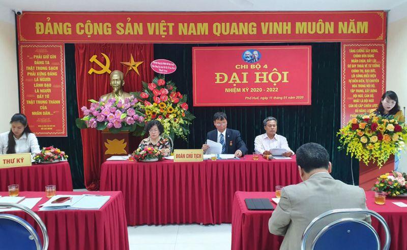 Quang cảnh Đại hội Chi bộ 4 - Đảng bộ phường Phố Huế (quận Hai Bà Trưng), diễn ra ngày 11-1-2020. Ảnh: Thanh Trà