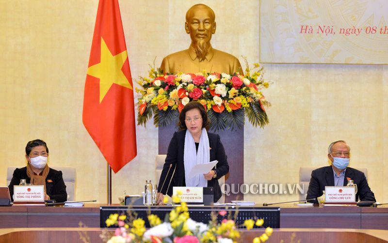 Chủ tịch Quốc hội Nguyễn Thị Kim Ngân khai mạc phiên họp. Ảnh: Quochoi.vn