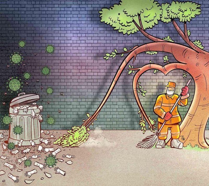 Công nhân vệ sinh môi trường chung tay giữ gìn đường phố sạch đẹp trước nỗi lo rác thải y tế trong mùa dịch bệnh.