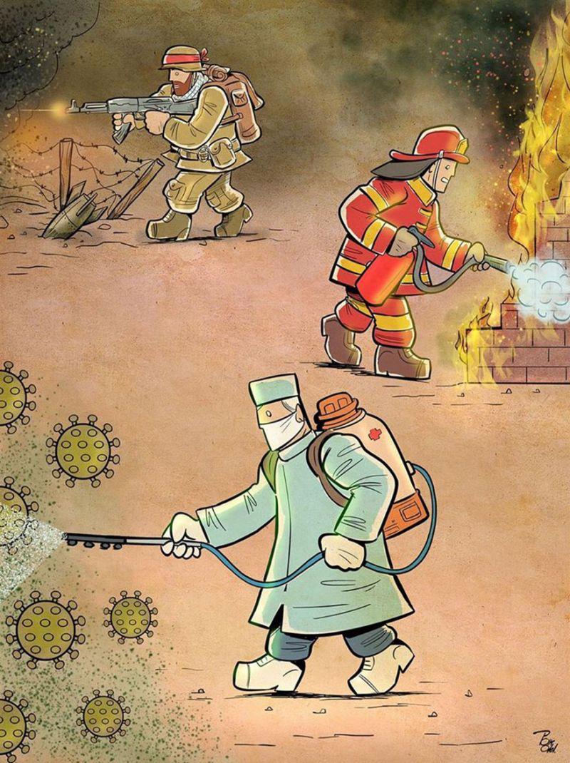 Tương tự như các binh sĩ, lính cứu hỏa, mỗi một bác sĩ lại là một người lính trên mặt trận của mình - mặt trận chống dịch bệnh.
