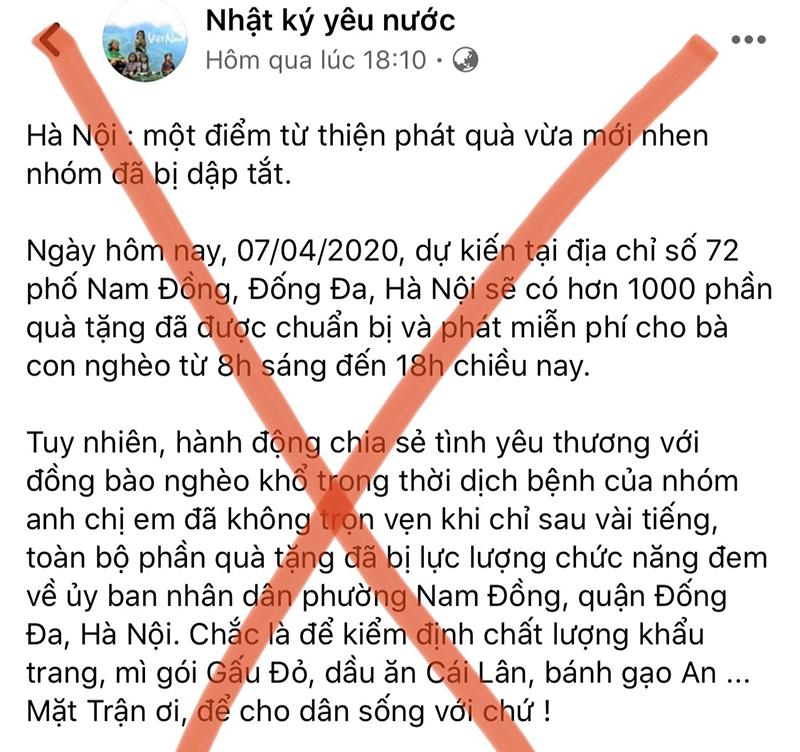 Bài viết chưa đúng sự thật được đăng tải trên facebook ngày 7/3