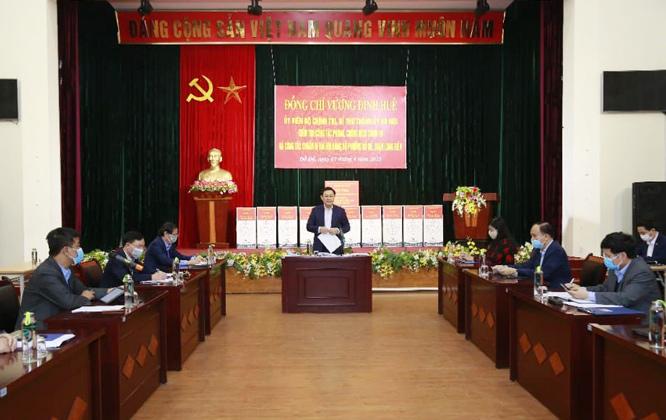 Bí thư Thành ủy  Hà Nội Vương Đình Huệ phát biểu kết luận buổi kiểm tra.