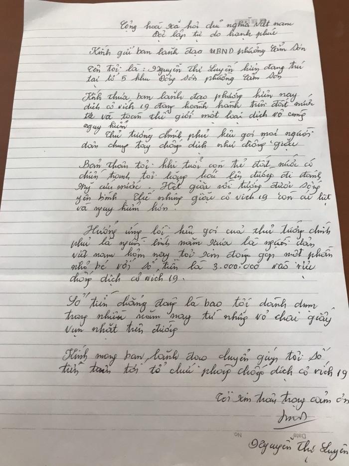 Lá thư viết tay cảm động của bà Luyến gửi kèm số tiền ủng hộ chống dịch Covid-19