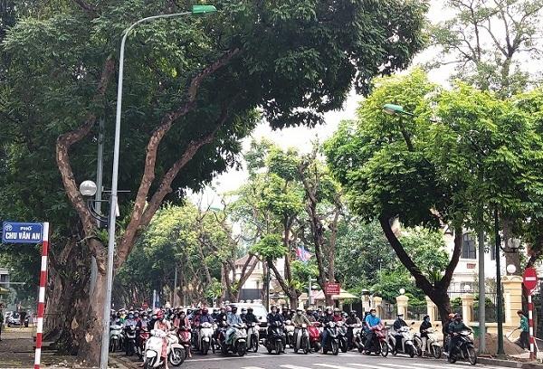 Người dân tham gia giao thông khá đông  tại Ngã tư Trần Phú- Chu Văn An
