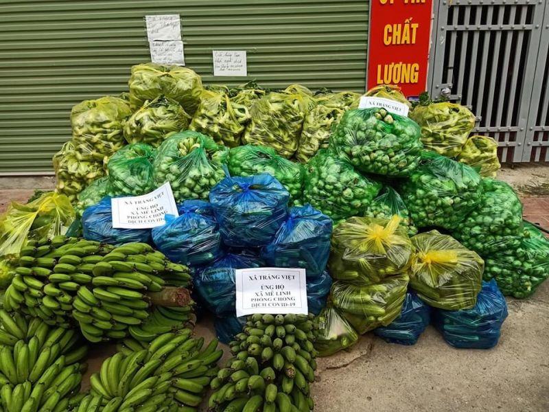 Hội LHPN xã Tráng Việt tiếp tục  ủng hộ 350 rau, củ, 3000 quả trứng ủng hộ thôn Hạ Lôi, xã Mê Linh.