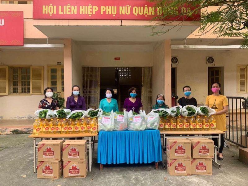Số quà tặng được trao hỗ trợ hội viên phụ nữ khó khăn do dịch bệnh của Hội LHPN quận Đống Đa