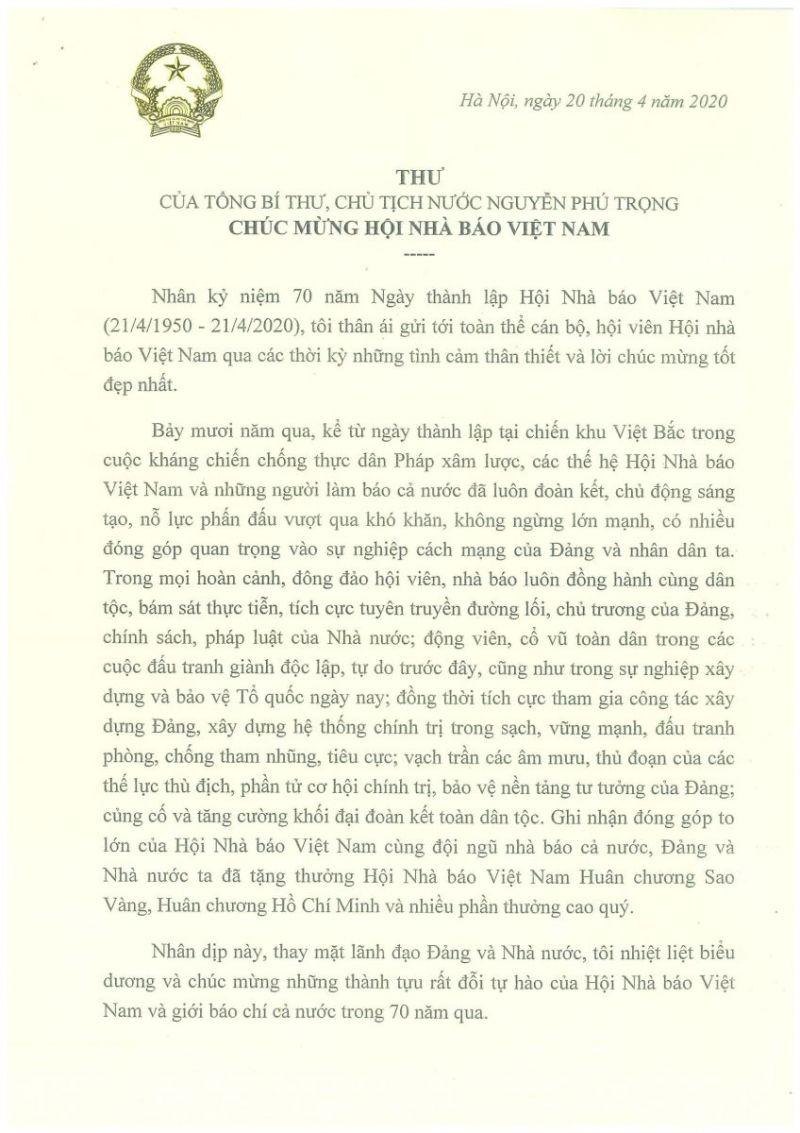 Thư của Tổng Bí thư, Chủ tịch Nước Nguyễn Phú Trọng chúc mừng Hội Nhà báo Việt Nam nhân dịp kỷ niệm 70 năm Ngày thành lập.