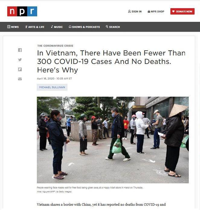 """Bài """"Tại Việt Nam, số ca mắc Covid-19 ít hơn 300 người và không có ca tử vong. Đây là lý do"""" trên trang NPR.org. (Ảnh chụp màn hình)"""