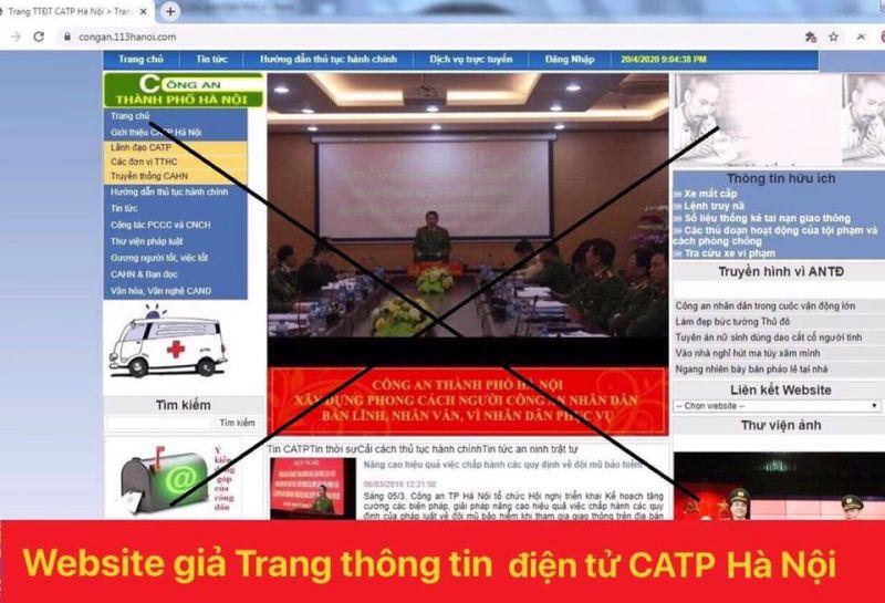 Website giả trang thông tin điện tử CATP Hà Nội