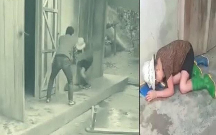 Hình ảnh Trần Văn Tam cầm ghế gỗ đánh mẹ ruột của mình. Ảnh cắt từ clip
