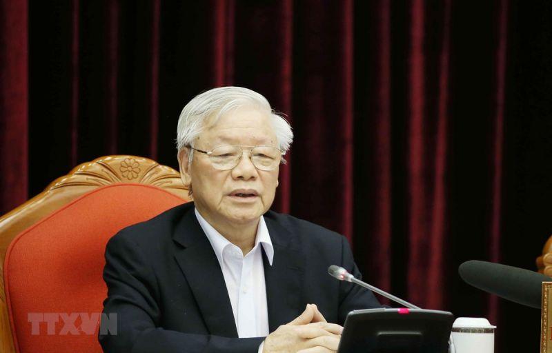 Tổng Bí thư, Chủ tịch nước Nguyễn Phú Trọng phát biểu chỉ đạo tại Hội nghị cán bộ toàn quốc, ngày 23/4. Ảnh: TTXVN