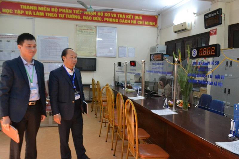 Đoàn kiểm tra công vụ TP Hà Nội kiểm tra đột xuất bộ phận Một cửa UBND huyện Thanh Trì