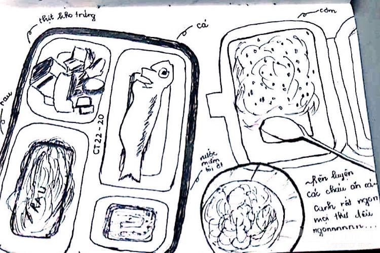 Hình ảnh suất ăn hàng ngày được các bạn trẻ trong khu cách ly tại Trung đoàn 58 vẽ lại với những dòng chú thích dễ thương.