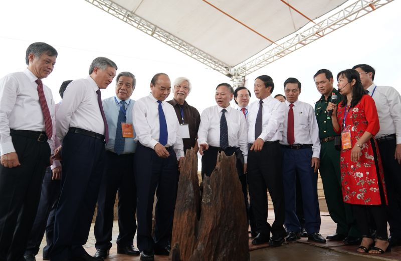 Thủ tướng cùng các đại biểu tham quan bãi cọc. Ảnh VGP/Quang Hiếu