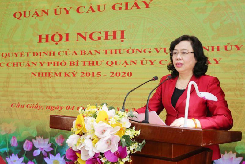 Phó Bí thư Thường trực Thành ủy Hà Nội Ngô Thị Thanh Hằng phát biểu tại hội nghị.