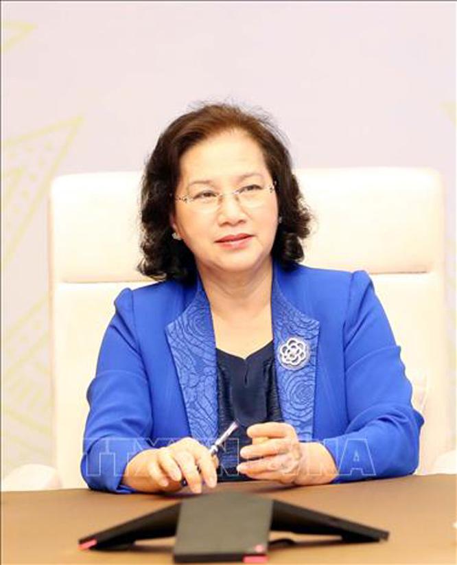 Chủ tịch Quốc hội Nguyễn Thị Kim Ngân tại cuộc điện đàm. Ảnh: Trọng Đức/TTXVN