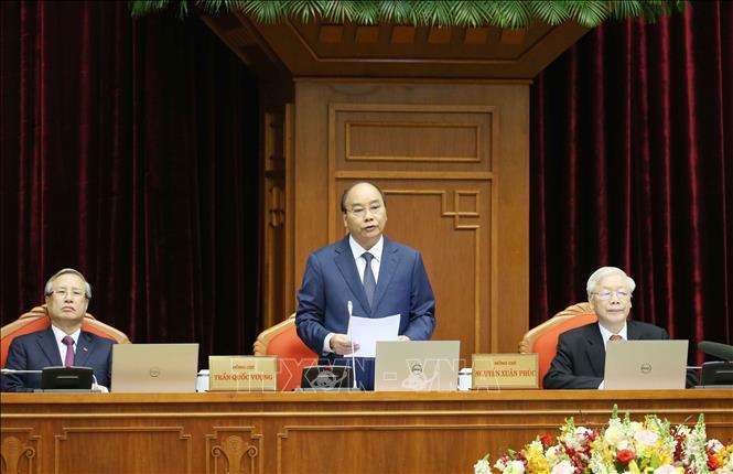 Thủ tướng Chính phủ Nguyễn Xuân Phúc điều hành khai mạc hội nghị. Ảnh: Phương Hoa/TTXVN