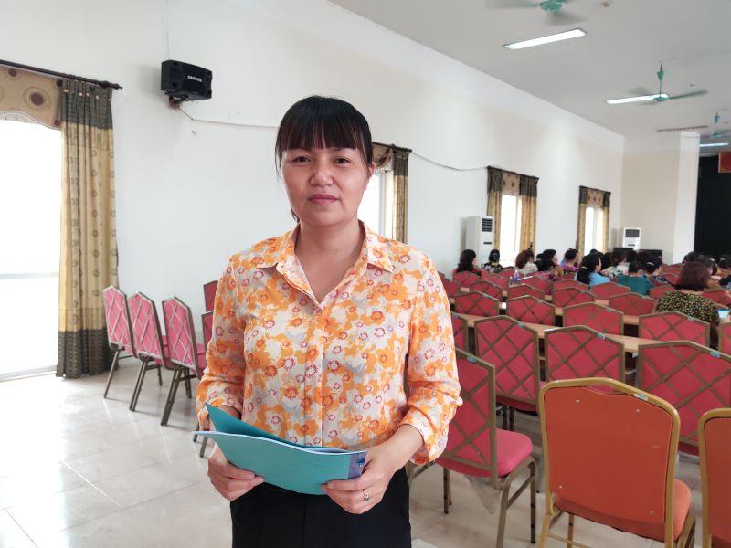 đồng chí Mai Thị Thanh Hà- Chủ tịch Hội LHPN phường Định Công quận Hoàng Mai phấn khởi tham gia lớp học