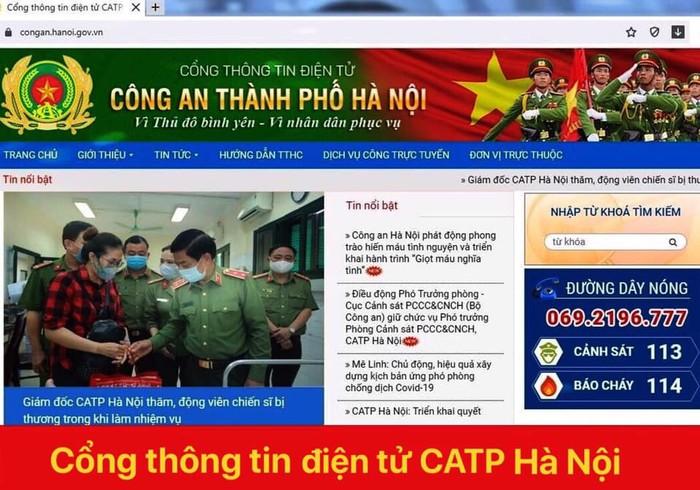 Trang web chính thức của Công an Hà Nội. Ảnh: congan.hanoi.gov.vn