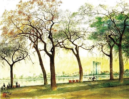 Đường Cổ Ngư - một trong những con đường đẹp của Thủ đô Hà Nội.