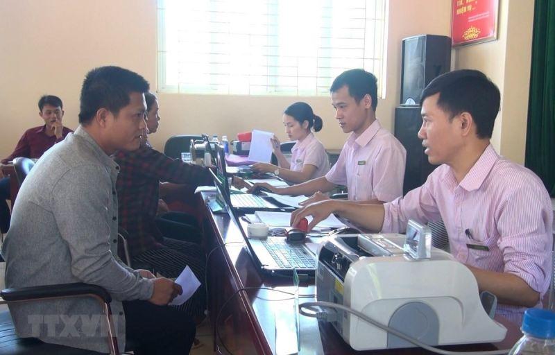 Điểm giao dịch Ngân hàng Chính sách xã hội tại xã Đồng Lợi, huyện Triệu Sơn, Thanh Hóa.