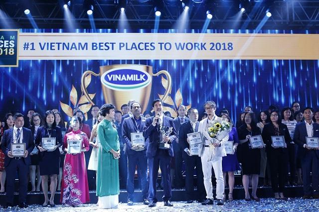 Vinamilk dẫn đầu bảng xếp hạng 100 nơi làm việc tốt nhất Việt Nam năm 2018.