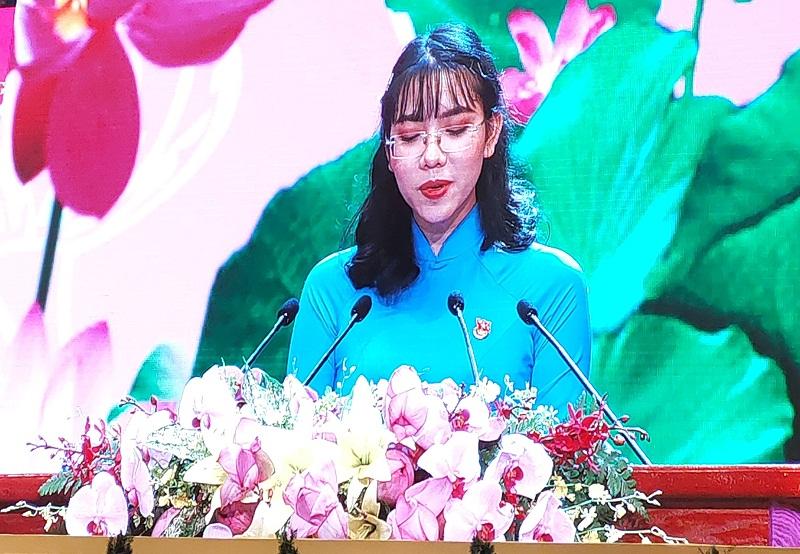Đại diện cho thế hệ trẻ phát biểu tại Lễ kỷ niệm, sinh viên Huỳnh Mạnh Phương, Trường Đại học Kinh tế - Luật thuộc Đại học Quốc gia Thành phố Hồ Chí Minh