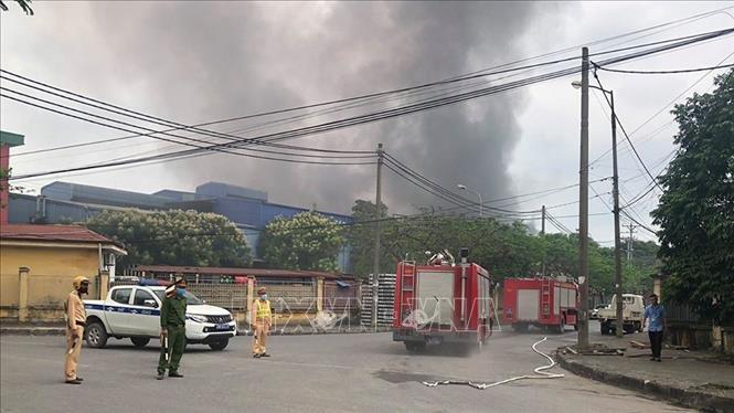 Vụ cháy tại công ty TNHH Song Ngân thuộc Cụm công nghiệp Phú Thị