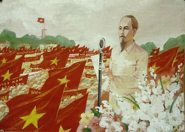 Tác phẩm Bác Hồ đọc Tuyên ngôn độc lập của hoạ sĩ Nguyễn Dương được trưng bày tại bảo tàng Mỹ thuật Việt Nam