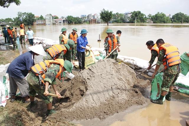 Lực lượng xung kích thực hiện công tác hộ đê sông Bùi, huyện Chương Mỹ