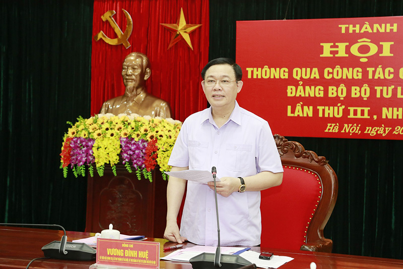 Bí thư Thành uỷ Vương Đình Huệ phát biểu tại cuộc làm việc.