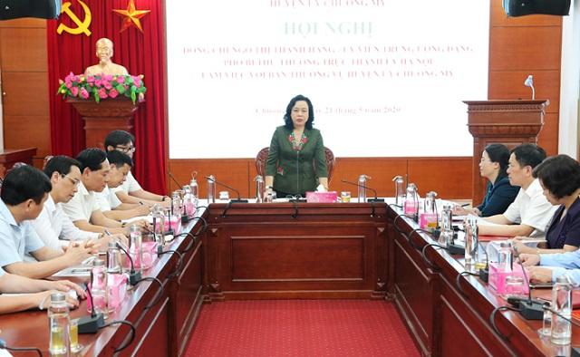Phó Bí thư Thường trực Thành ủy Ngô Thị Thanh Hằng phát biểu kết luận buổi làm việc