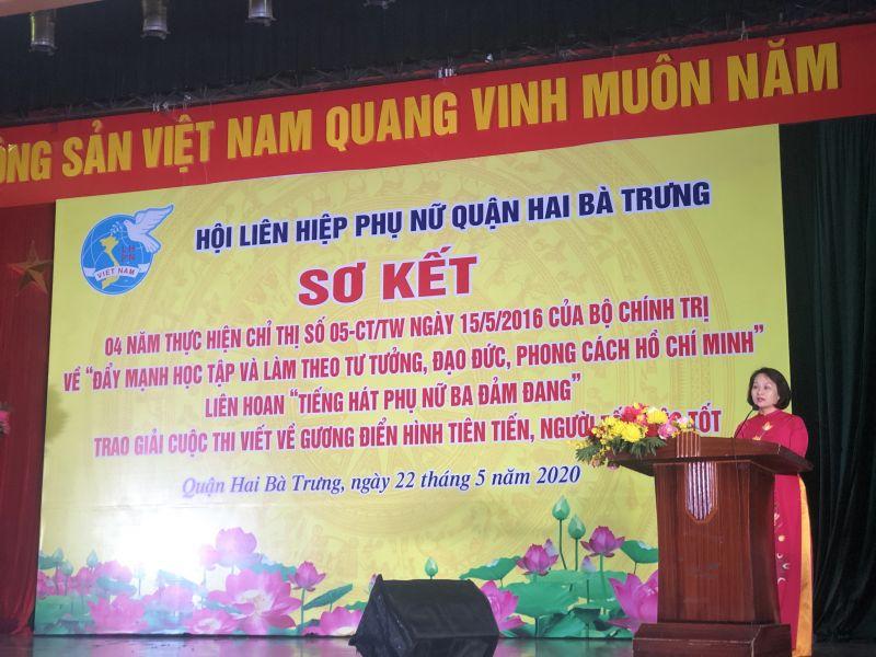 Phó Chủ tịch Hội LHPN Hà Nội Phạm Thị Thanh Hương phát biểu tại chương trình