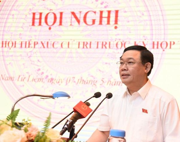 Đồng chí  Vương Đình Huệ- Bí thư Thành ủy Hà Nội phát biểu tại buổi tiếp xúc cử tri quận Nam Từ Liêm (ngày 7/5/2020)