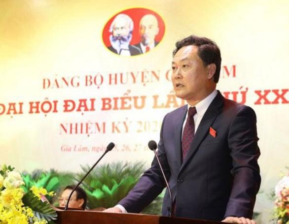 Đồng chí Lê Anh Quân- Bí thư huyện ủy - Chủ tịch UBND huyện Gia Lâm phát biểu khai mạc đại hội
