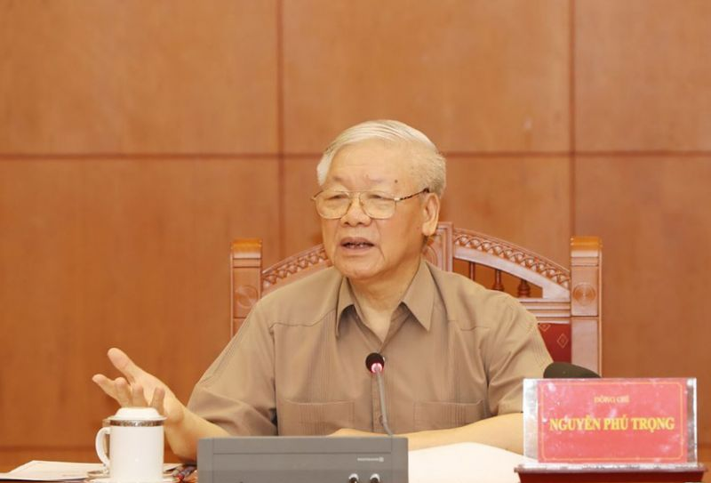 Tổng Bí thư, Chủ tịch nước Nguyễn Phú Trọng, Trưởng Ban Chỉ đạo Trung ương về phòng, chống tham nhũng phát biểu tại cuộc họp.