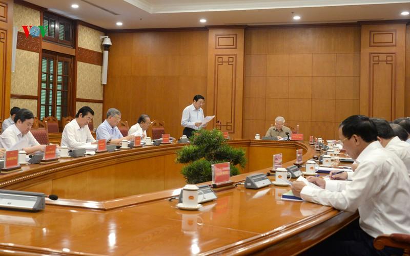 Cuộc họp của Thường trực Ban Chỉ đạo Trung ương về Phòng chống tham nhũng sáng 26/5. Ảnh: VOV