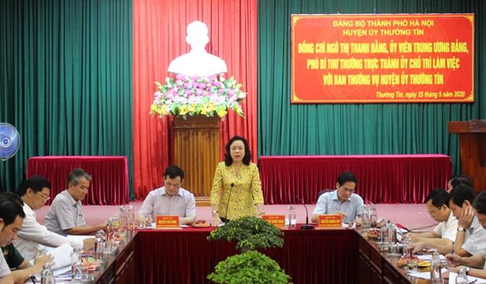 Phó Bí thư Thường trực Thành ủy Hà Nội Ngô Thị Thanh Hằng phát biểu kết luận buổi làm việc với Ban Thường vụ Huyện ủy Thường Tín.